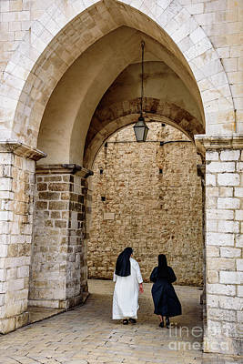 Photograph - Two Nuns Leaving Luza Square, Dubrovnik, Croatia by Global Light Photography - Nicole Leffer