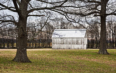 Photograph - Two Oaks White Kentucky Barn by Greg Jackson