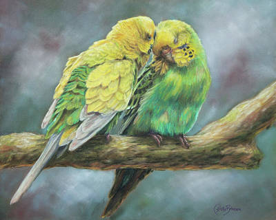Parakeet Wall Art - Pastel - Two Of A Kind by Kirsty Rebecca