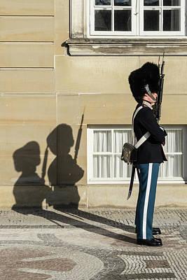 Photograph - Two Of Kongelige Livgarde Amalienborg Copenhagen Denmark by Jebulon