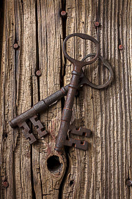 Knothole Photograph - Two Old Skeletons Keys by Garry Gay