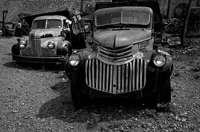 Photograph - Two Old Trucks Bw by David Gordon