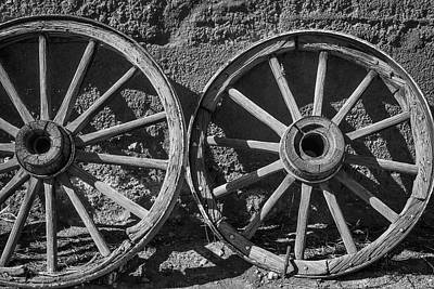 Two Old Wagon Wheels Art Print