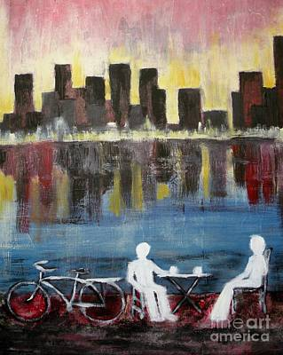 Two Bicycles Painting - Two On The Town by Michael Stanley