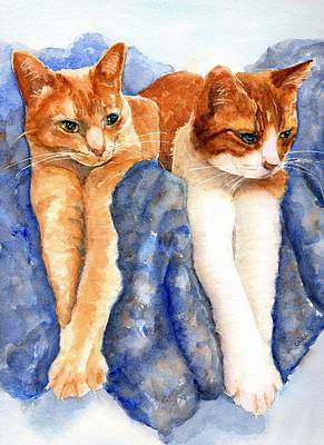 Painting - Two Orange Tabby Cats by CarlinArt Watercolor