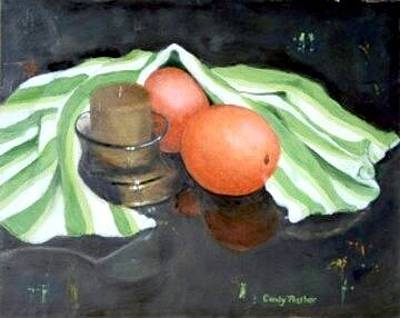 Painting - Two Oranges Under Cover by Candy Prather