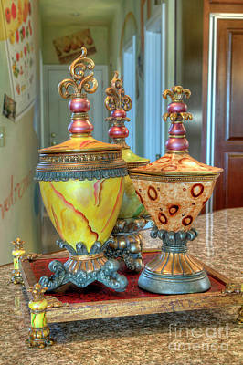 Photograph - Two Ornate Colorful Vases Or Urns Art Prints by Valerie Garner