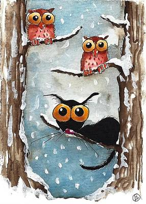 Two Owls And A Cat Art Print