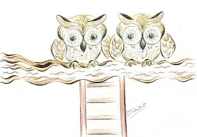Mixed Media - Two Owls Perched Together by Teresa White