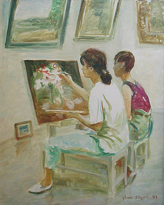 Painting - Two Painters by Ji-qun Chen