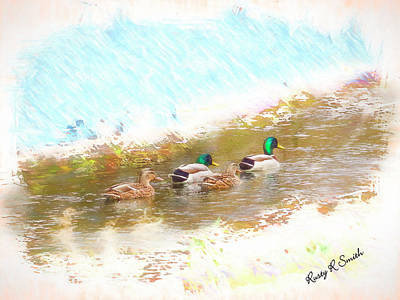 Digital Art - Two Pair Of Mallard Ducks. by Rusty R Smith