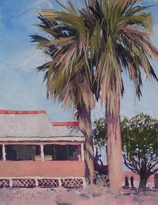 Painting - Two Palms On S. Tegner - Art By Bill Tomsa by Bill Tomsa