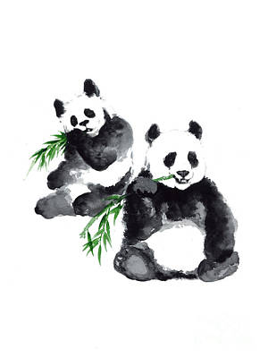Giant Panda Mixed Media - Two Pandas Watercolor Painting by Joanna Szmerdt