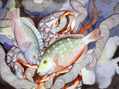 Parrotfish Painting - Two Parrots by Liduine Bekman