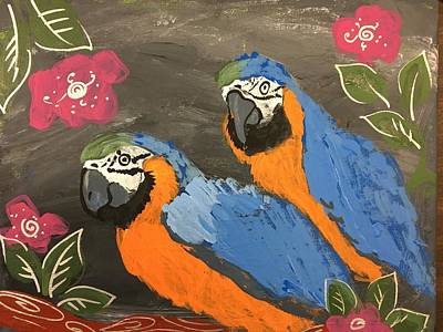 Easterseals Painting - Two Parrots by Louie M