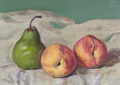 Painting - Two Peaches And A Pear by Robert Holden