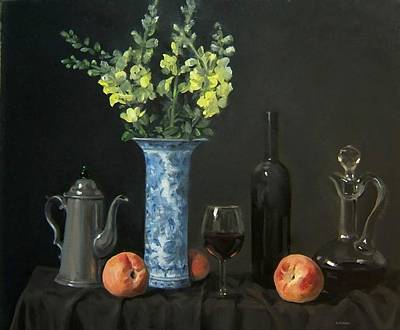 Painting - Three Peaches With Wine And Yellow Flowers by Robert Holden