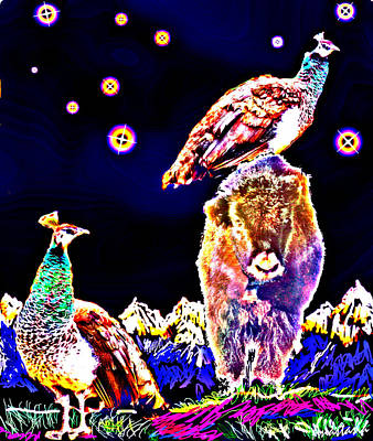 Yak Digital Art - Two Peacocks And A Yak by Anastasia Savage Ealy