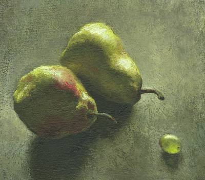 Three Sizes Painting - Two Pears And A Grape by Robert McIntosh