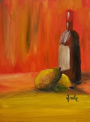 Painting - Two Pears And Merlot  by Steve Jorde