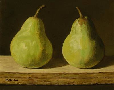 Painting - Two Pears On A Ledge by Robert Holden