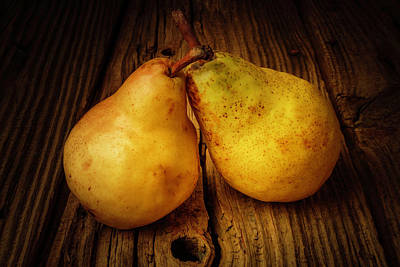 Knothole Photograph - Two Pears Still Life by Garry Gay