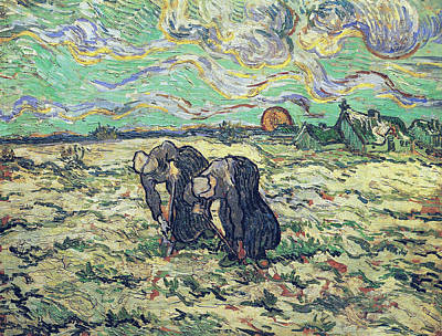 Weeding Painting - Two Peasant Women Digging In Field With Snow, 1890   by Vincent Van Gogh