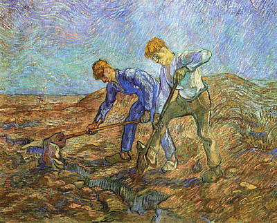 Weeding Painting - Two Peasants Diging After Millet, 1889 by Vincent Van Gogh