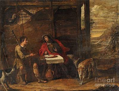 Flemish School Painting - Two Peasants Eating by Celestial Images