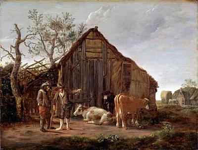 Govert Dircksz Camphuysen Painting - Two Peasants With Cows by Govert Dircksz Camphuysen