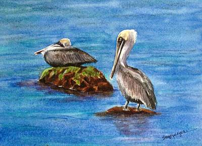 Two Pelicans Art Print by Suzanne Krueger