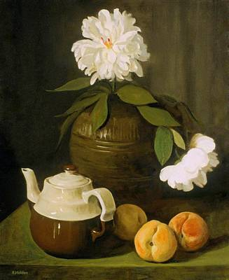 Painting - Two Peonies,three Peaches,pottery by Robert Holden