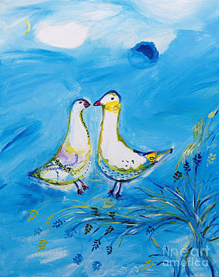 Marc Chagall Painting - Two Pigeons - Tribute To Chagall by Art by Danielle