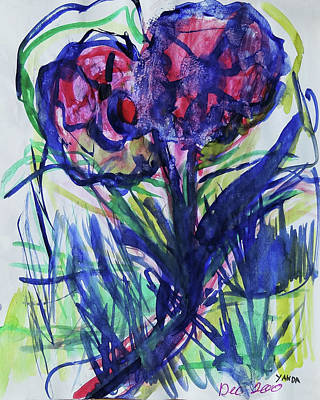 Mixed Media - Two Pink Flowers by Katt Yanda