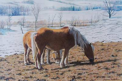 Art Print featuring the mixed media Two Ponies In The Snow by Constance Drescher