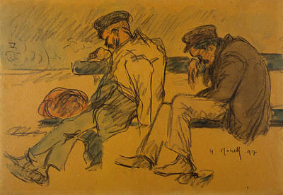 Drawing - Two Poor Men Sleeping by Isidre Nonell
