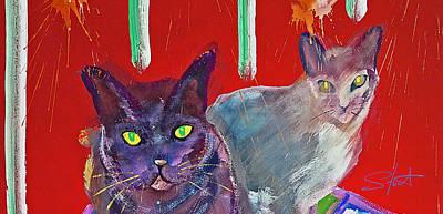 Two Posh Cats Print by Charles Stuart