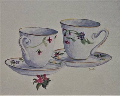 Painting - Two Pretty Teacups by Suzn Art Memorial