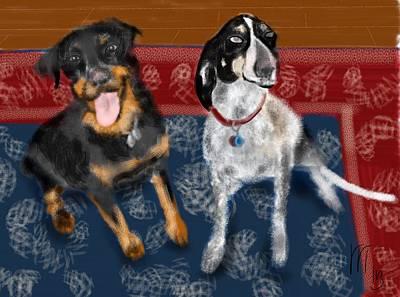 Persian Carpet Digital Art - Two Pups On A Persian Carpet by Lois Ivancin Tavaf