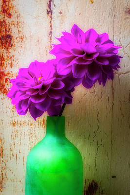 Photograph - Two Purple Dahlias In Green Vase by Garry Gay