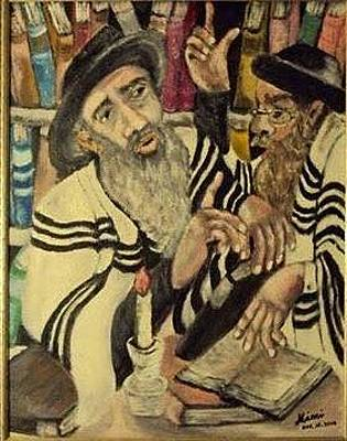 Drawing - Two Rabbis Consult Halakhah by Mimi Eskenazi