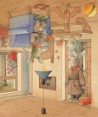Painting - Two Rabbits by Kestutis Kasparavicius