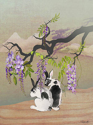 Digital Art - Two Rabbits Under Wisteria Tree by IM Spadecaller