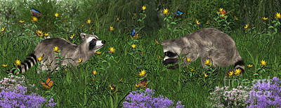 Digital Art - Two Raccoons  With Butterflys by Walter Colvin