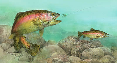 Painting - Two Rainbow Trout by John Dyess