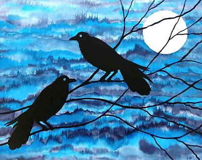 Mixed Media - Two Ravens by Laurie Anderson
