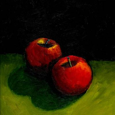 Black Background Painting - Two Red Apples Still Life by Michelle Calkins