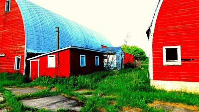 Target Threshold Nature - Two Red Barns by Curtis Tilleraas