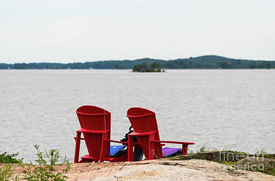 Photograph - Two Red Chairs At A Lake by Les Palenik
