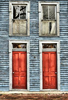 Metamora Photograph - Two Red Doors by Mel Steinhauer